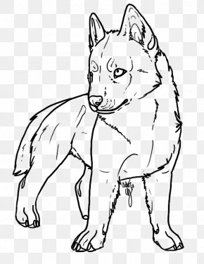 Puppy - Dog Breed Line Art Siberian Husky Puppy Drawing PNG