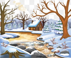 Vector Hand-painted Winter Forest Snow - Winter Landscape Painting Clip Art PNG
