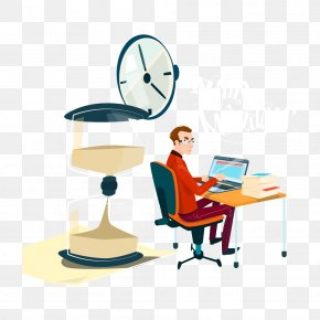 Notebook Clock Vector Work Men - Cartoon White-collar Worker Illustration PNG