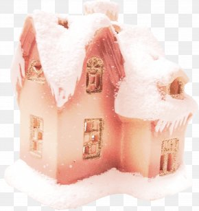Orange Snow House - Snowflake Clip Art PNG