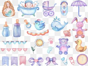 Baby Cartoon Watercolor Painted Element - Watercolor Painting Baby Shower Drawing Infant PNG