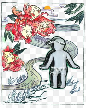 Long Face Flower Pattern Creative Illustration - Flower Text Poster Illustration PNG