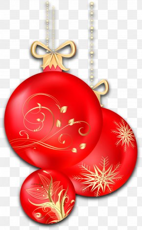 Christmas Transparent Red Ornaments Clipart - Christmas Eve Nativity Of Jesus Gift Holiday PNG