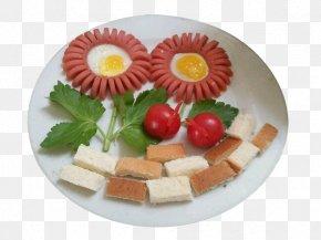 Ham And Poached Eggs On A Sunflower Wobble Board - Ham European Cuisine Fried Egg Vegetarian Cuisine Canapé PNG