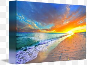 Beach At Sunset - Sky Shore Sunset Blue Painting PNG