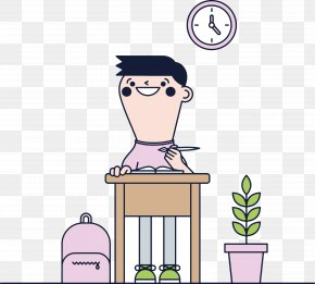 Cartoon Male Teacher Preparing Lessons - Student Cartoon Illustration PNG