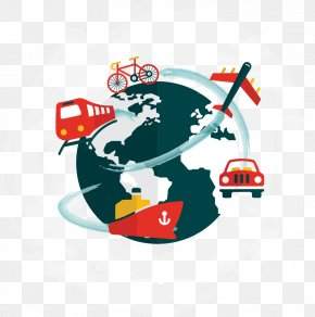 Global Travel Background Vector Material Exquisite, - Public Transport Logistics Business Mode Of Transport PNG