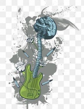 Vector Guitar Skull Print - T-shirt Printing Guitar PNG
