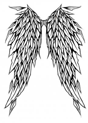Angel Wings With Halo Drawings - Lower-back Tattoo Angel Wing Flash PNG