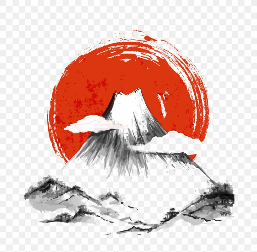 Japan Ink Wash Painting, PNG, 1000x981px, Mount Fuji, Art, Black And White, Drawing, Illustration Download Free