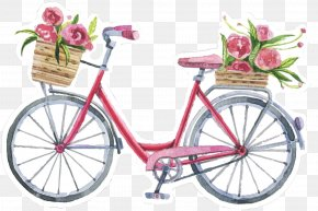 Summer City Flower Bicycle - Bicycle Sticker Illustration Image Drawing PNG