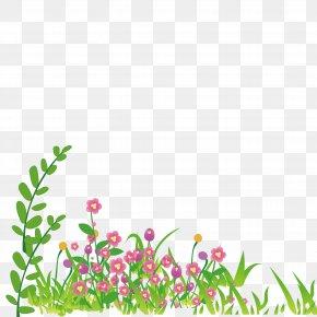 Cartoon Grass Wildflowers - Cartoon Wallpaper PNG