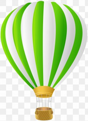 Green Hot Air Balloon Transparent Clip Art - Hot Air Balloon Clip Art PNG