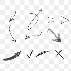 Black And White Pointing To The Arrow - Black And White Arrow PNG