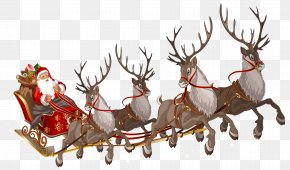 Santa Claus With Sleigh PNG Clipart Image - Santa Claus's Reindeer Santa Claus's Reindeer Rudolph PNG
