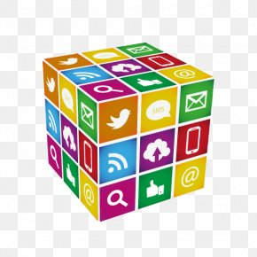 Social Media Cube Background Vector Material - Social Media Marketing Business PNG