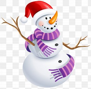 Snowman With Purple Scarf Picture - Snowman Sticker Purple Character Clip Art PNG