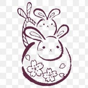 Pretty Rabbit Pattern - Rubber Stamp Seal Gratis Rabbit PNG