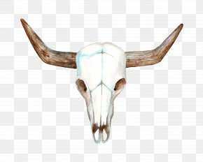 Hand-painted Sheep Skull - Texas Longhorn Cows Skull: Red, White, And Blue Bull PNG