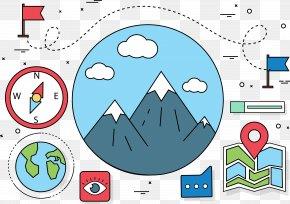 Mountain Climbing Map - Cartoon Clip Art PNG