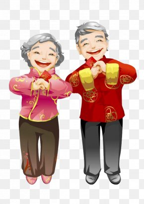 Grandfather Grandmother Happy New Year - Senior Couple Chinese New Year Red Envelope Illustration PNG