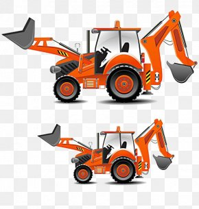Cartoon Excavator - Tractor Heavy Equipment Architectural Engineering Clip Art PNG