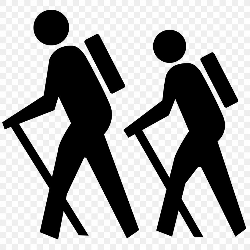 Hiking Clip Art, PNG, 1024x1024px, Hiking, Area, Backpacking, Black, Black  And White Download Free