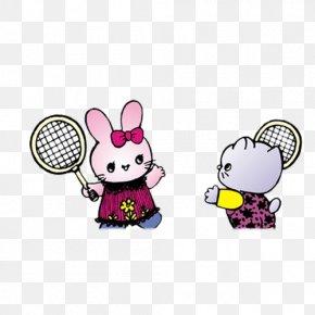 Hand-painted Cartoon Bunny Kitten Creative Badminton - Badminton Cartoon Racket PNG
