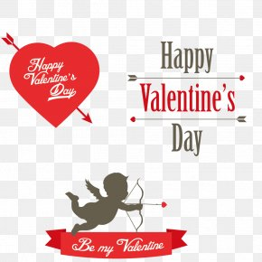 Happy Valentine's Day - Valentines Day Cupid Heart Clip Art PNG