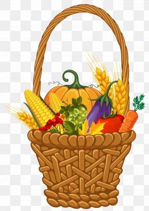 Fall Harvest Basket Clipart Image - Basket Autumn Thanksgiving Harvest Clip Art PNG
