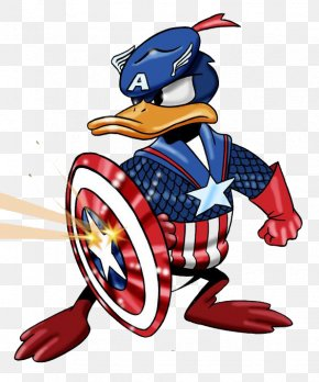 Donald Captain America - Captain America Donald Duck Iron Man Mickey Mouse T-shirt PNG