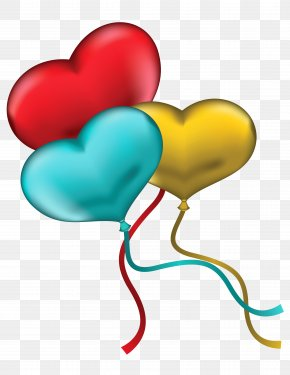 Red Blue And Yellow Heart Balloons Clipart Picture - Heart Balloon Clip Art PNG