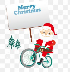 Vector Santa Claus Bike - Santa Claus Christmas Euclidean Vector Noel North PNG