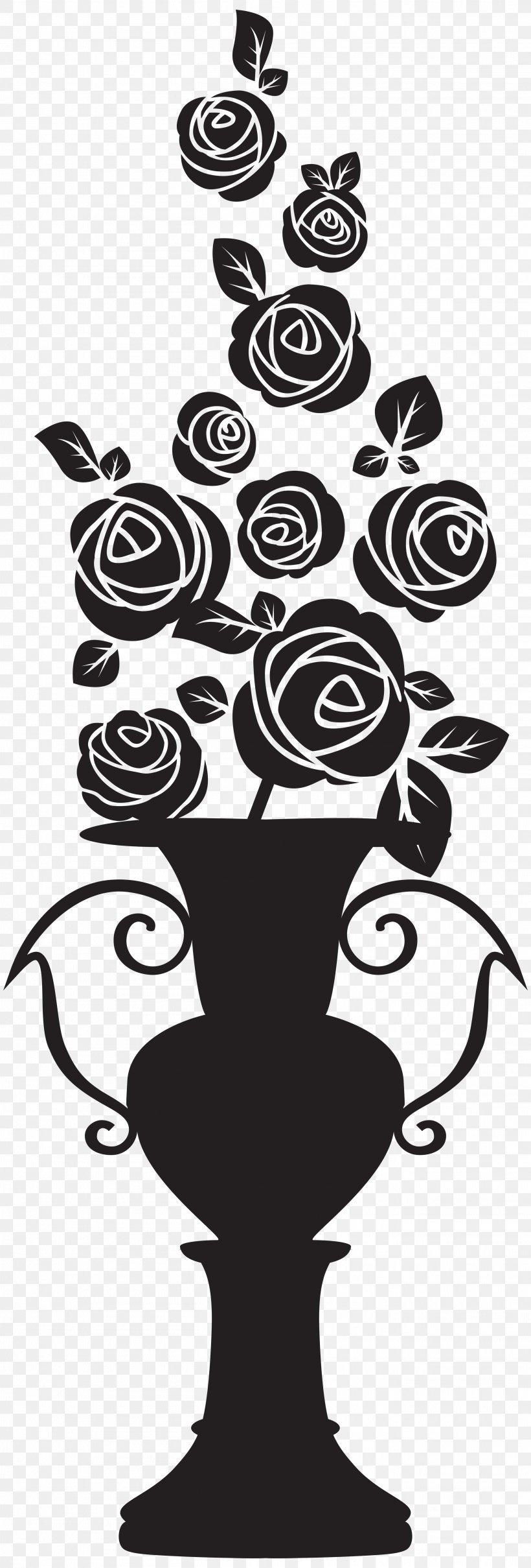 Silhouette Drawing Clip Art, PNG, 2712x8000px, Silhouette, Art, Black And White, Drawing, Flower Download Free