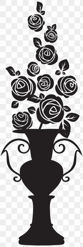 Vase With Roses Silhouette Clip Art Image - Silhouette Drawing Clip Art PNG