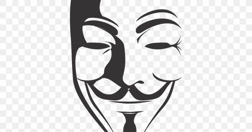 Guy Fawkes Mask V For Vendetta Clip Art, PNG, 1200x630px, Guy Fawkes Mask, Anonymous, Art, Black, Black And White Download Free