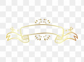 Gold Hand Painted Floral Ribbon Background - Ribbon Download Computer File PNG