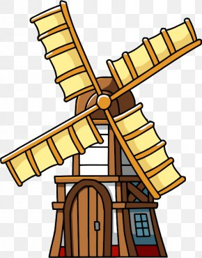 Hand-painted Vintage Windmill - Netherlands Wind Turbine Mill Clip Art PNG