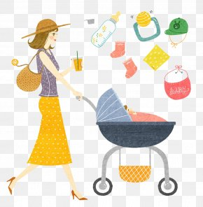Mother Pushing The Baby Carriage - Baby Food Mother Baby Transport Clip Art PNG