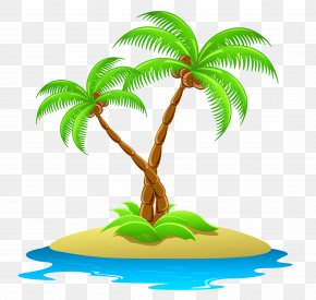 Island With Palm Trees Transparent Clipart - Coconut Arecaceae Royalty-free Clip Art PNG