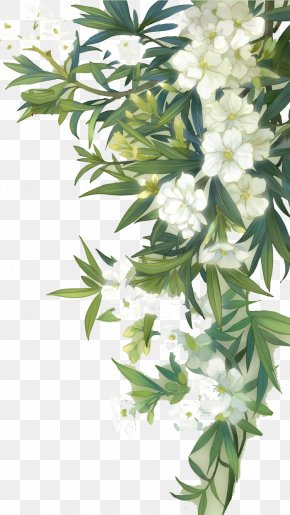 White Blooming Flowers And Green Leaves - Familiar Wild Flowers Watercolour Flowers PNG