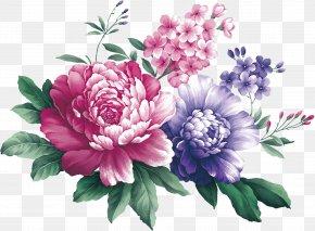 Watercolor Peony - Floral Design Centifolia Roses Cut Flowers Flower Bouquet Artificial Flower PNG