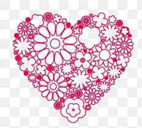 Vector Hand-painted Small Flowers Grouped Into Hearts - Marriage PNG