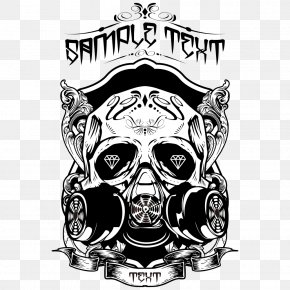 Black Skull - Printed T-shirt Skull Top PNG