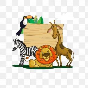Zoo Scene - Lion Cartoon Northern Giraffe Image Vector Graphics PNG