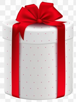 White Gift Box With Red Bow Clipart Image - Gift Wrapping Box Clip Art PNG