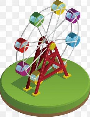 Vector Color Ferris Wheel - Ferris Wheel Clip Art PNG