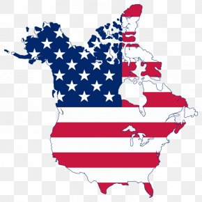 American Flag Free Images - Flag Of The United States Canada Map Clip Art PNG