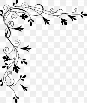 Corner Border - Flower Black And White Clip Art PNG