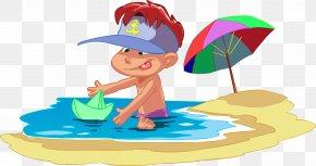 Vacation - Cartoon Child Beach Clip Art PNG